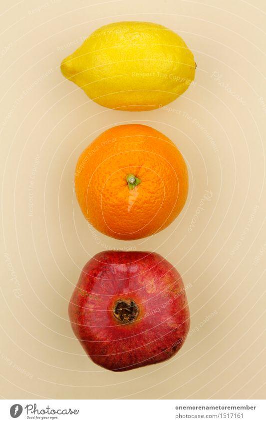 Jammy Lemon Orange Pomegranate Gradient Art Work of art Esthetic Fruit Selection Beige Delicious Healthy Eating Vitamin-rich Yellow Red Colour photo