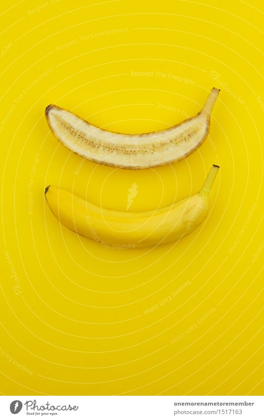 Jammy banana halves on yellow Art Work of art Esthetic Banana Banana plantation Banana clip Yellow Yellowness Division Half Fruit Healthy Healthy Eating
