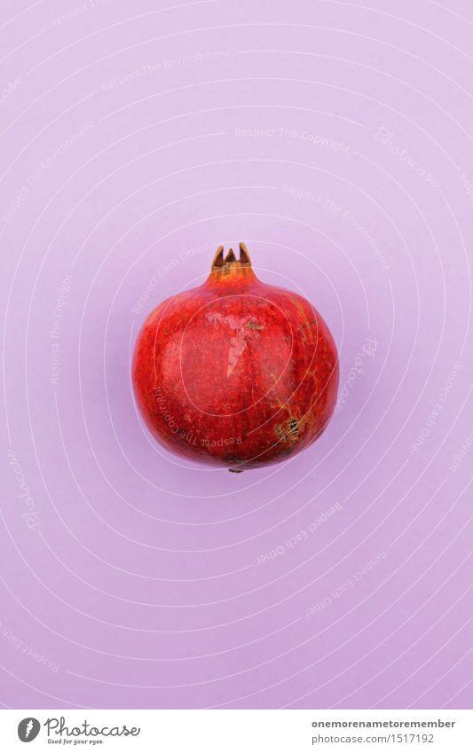 Jammy pomegranate on purple Art Work of art Esthetic Pomegranate Red Fruit Tropical fruits Violet Multicoloured Gaudy Harvest Decoration Design Fashioned Sheath