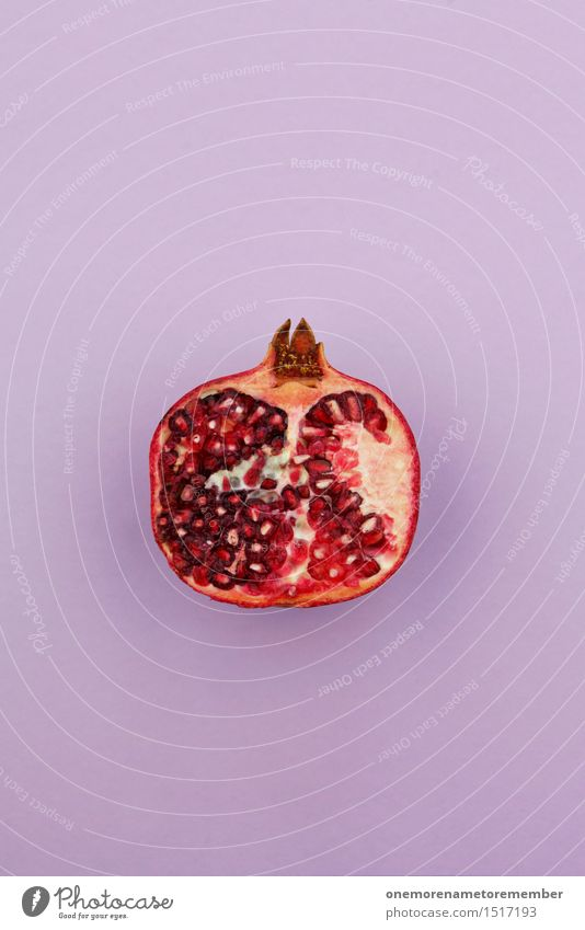 Jammy pomegranate half on purple Art Work of art Esthetic Pomegranate Red Delicious Snack Snackbar Small room Partition Design Violet Vitamin-rich