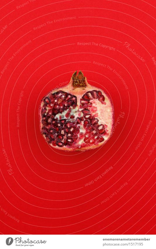 Jammy pomegranate on red Art Work of art Esthetic Pomegranate Fruit Exotic Tropical fruits Small room Vitamin-rich Vitamin C Common cold Red Design Fashioned