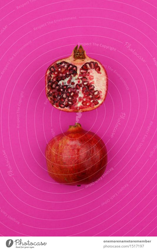Jammy pomegranate double on magenta Art Work of art Esthetic Pomegranate Half Fruit Magenta Pink Delicious Healthy Eating Red Vitamin-rich Logistics Design