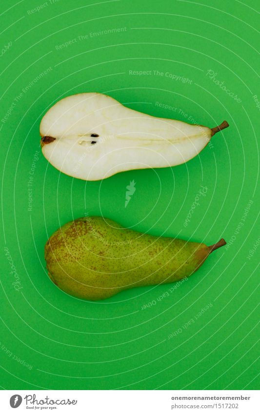 Green Healthy Eating Art Esthetic Delicious Organic produce Appetite Ecological Electric bulb Work of art Kernels & Pits & Stones Half Snack Pear Vitamin-rich