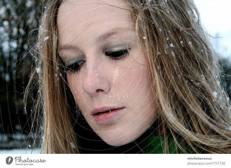 show yourself Winter Snow Coat Portrait photograph Face Longing Flake Wet Beautiful