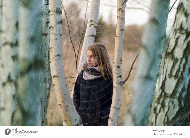 At the edge of the forest Girl Life Hair and hairstyles Face 1 Human being Environment Nature Landscape Plant Animal Tree Forest Looking Birch wood Infancy