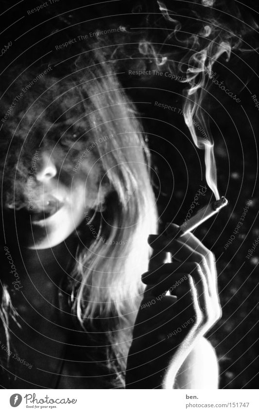 Smoke And Mirrors Cigarette Portrait photograph Woman Trashy Dirty Black & white photo Youth (Young adults)