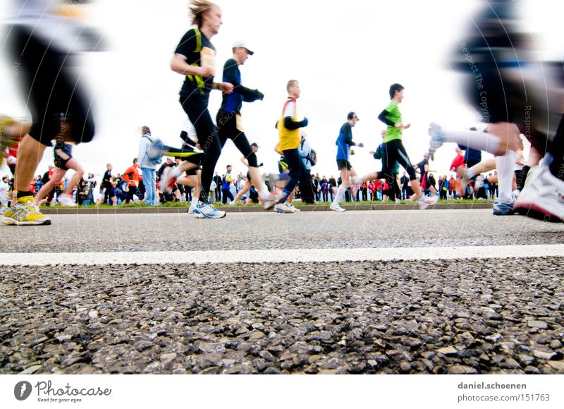 Freiburgmarathon from the point of view of an earthworm Walking Running sports Jogging Movement Speed Fitness Healthy Endurance Sports Street Perspective