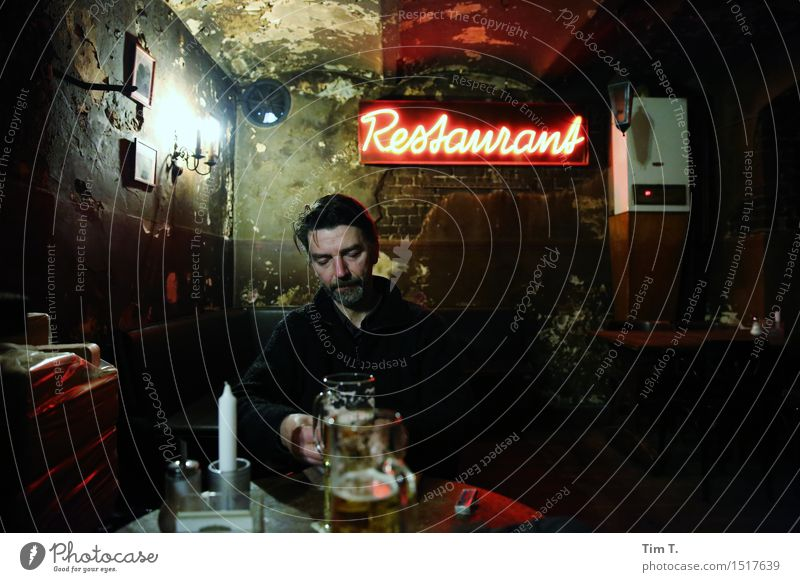 restaurant Human being Masculine Man Adults 1 45 - 60 years Leisure and hobbies Restaurant Roadhouse Beer Room Old Berlin Closing time Colour photo