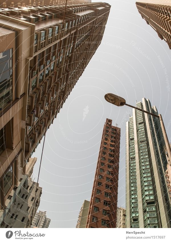 Falling Towers Sky Cloudless sky Hongkong Town Downtown Skyline High-rise Manmade structures Building Architecture Facade Balcony Window Threat Gigantic Large