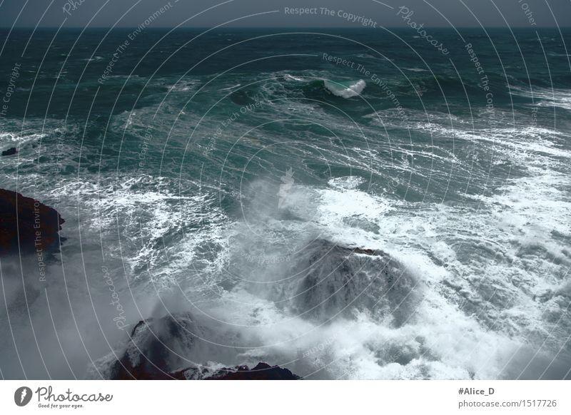 Stormy sea Environment Elements Water Horizon Weather Bad weather Gale Rock Waves Coast Lakeside Ocean Atlantic Ocean wave shuttle Dark Creepy Maritime Nature
