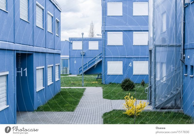 Blue House (Residential Structure) Window Architecture Building Facade Flat (apartment) Stairs Door Gloomy Simple Manmade structures Hut Sharp-edged Container