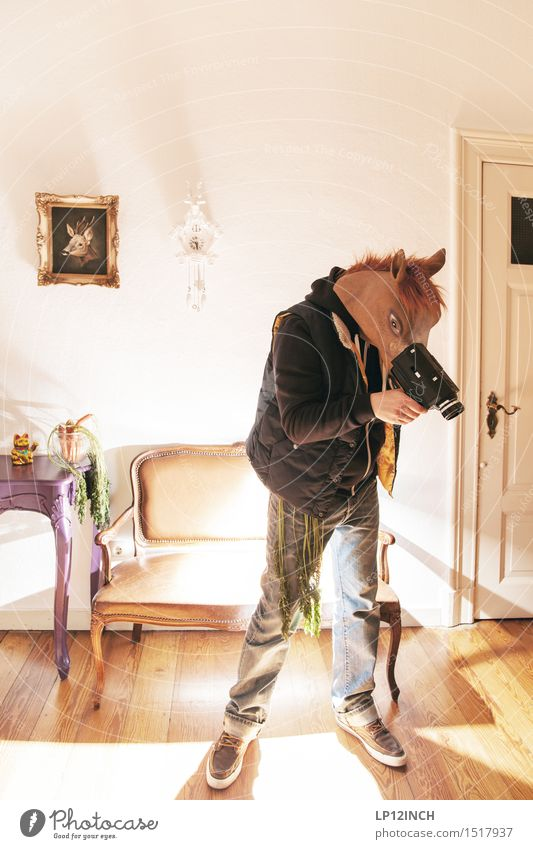Human being Man City Animal Adults Party Work and employment Flat (apartment) Masculine Wild Living or residing Crazy Technology Retro Horse Mask
