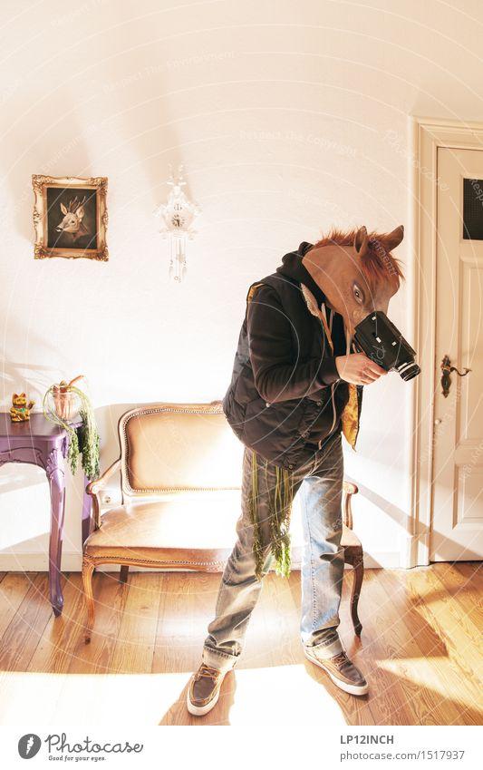 LP. HORSEMAN. XIX Living or residing Flat (apartment) Carnival Hallowe'en Camera-man Video camera Technology Masculine Man Adults 1 Human being Horse Animal