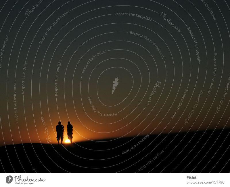Sun Children II South Africa Cape Town Beach Sunset Ocean Water 2 Man Shadow Shadow play Sky Black Blue Dark Loneliness