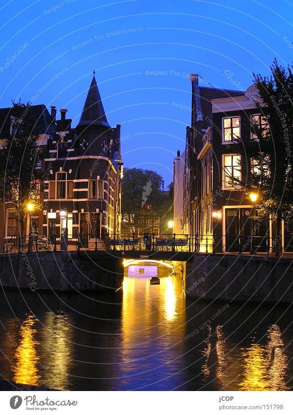 Amsterdam Netherlands Capital city Relaxation Gracht Water Night Light Watercraft