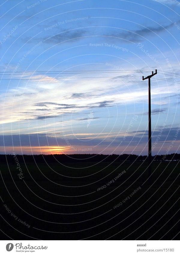 Sun Dark Horizon Electricity pylon Overhead line