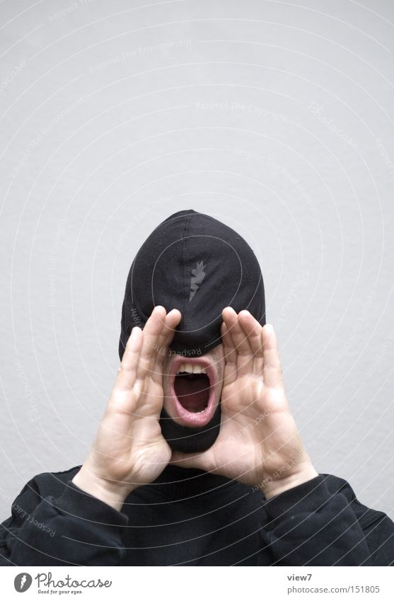 Man Hand Face To talk Mouth Power Adults Communicate Lips Mask Information Cloth Anger Curiosity Make Scream