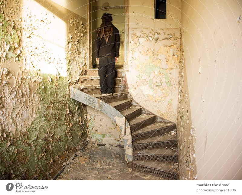 Man Beautiful Old Loneliness Colour Dye Line Room Wait Dirty Stairs Stand Derelict Shabby Bursting Shaft of light