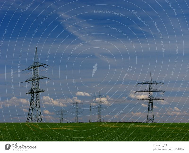Nature Sky Clouds Far-off places Landscape Environment Energy Horizon Electricity Dangerous Technology Logistics Agriculture Economy Electricity pylon