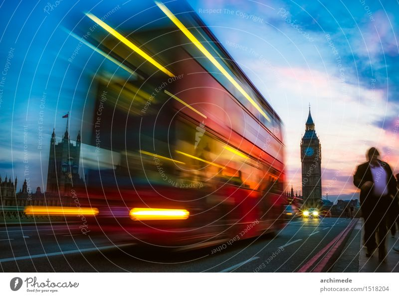London Vacation & Travel Trip Town Transport Street Movement urban on the road Big Ben Commuter commuting people landmark bus pullman Colour photo