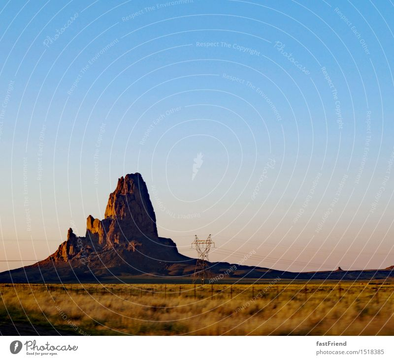 Vacation & Travel Street Rock Free Peak Hill Infinity USA Fence Desert Americas Drought High voltage power line Monument Valley