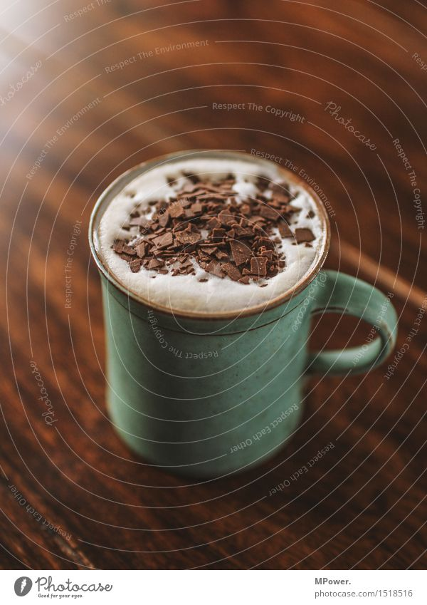 coffe-choc Nutrition Breakfast To have a coffee Beverage Hot drink Hot Chocolate Cocoa bean Coffee Latte macchiato Cup Mug Beautiful Sweet Chocolate crumble