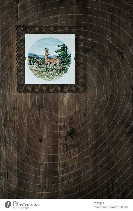 Gallery of ancestors - hunting lodge, a tile with a deer and forest hangs on a wooden wall Leisure and hobbies Hunting Vacation & Travel Mountain Hiking