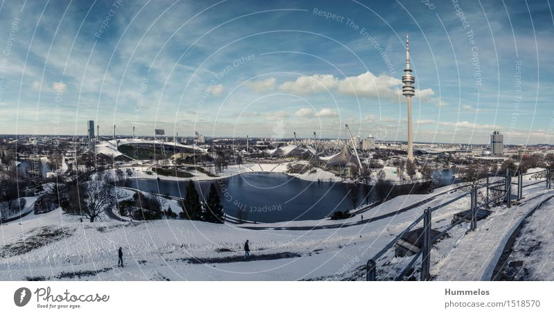 Munich Olympic Park in winter idyll Tower Esthetic Olympic Tower Olympic stadium Olympic lake Olympia Olympic village panorama Winter Blue Snow Olympic Games