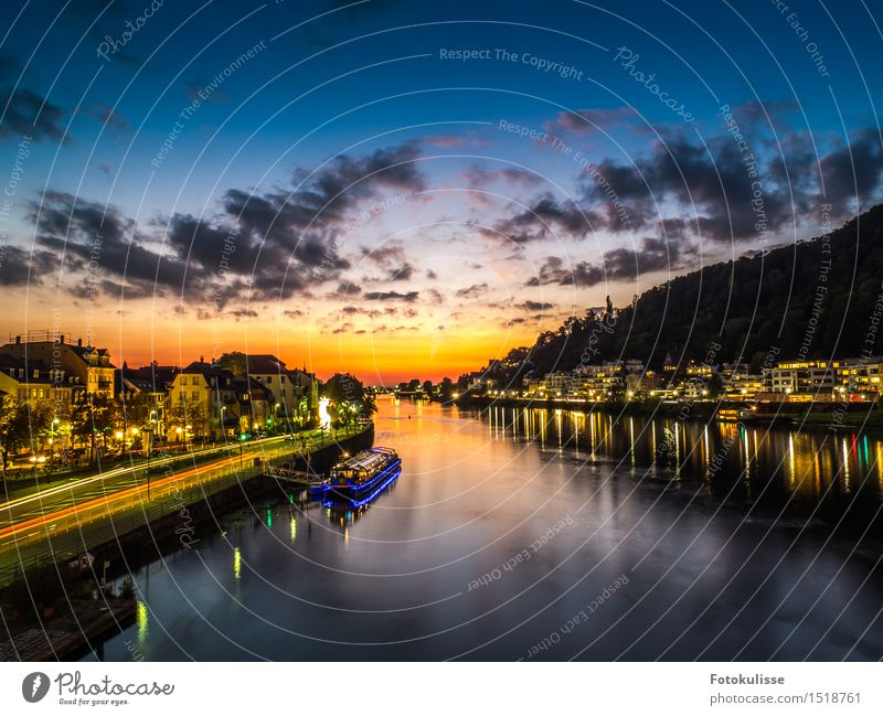 The Neckar in Heidelberg at the blue hour Lifestyle Vacation & Travel Tourism Trip Sightseeing City trip Aquatics Architecture Culture River Town Old town