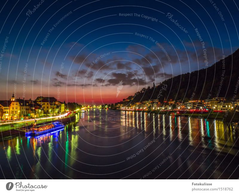 The Neckar in Heidelberg at the blue hour Lifestyle Style Vacation & Travel Tourism Trip Sightseeing City trip Night life Art Culture Town Old town