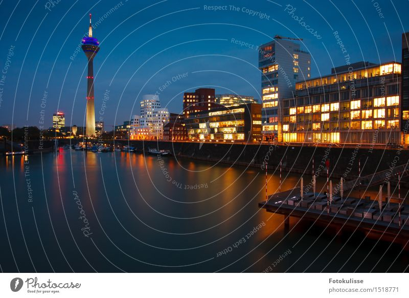Düsseldorf Media Harbour Lifestyle Style Water Duesseldorf Germany Town House (Residential Structure) Tower Architecture Tourist Attraction Blue Multicoloured