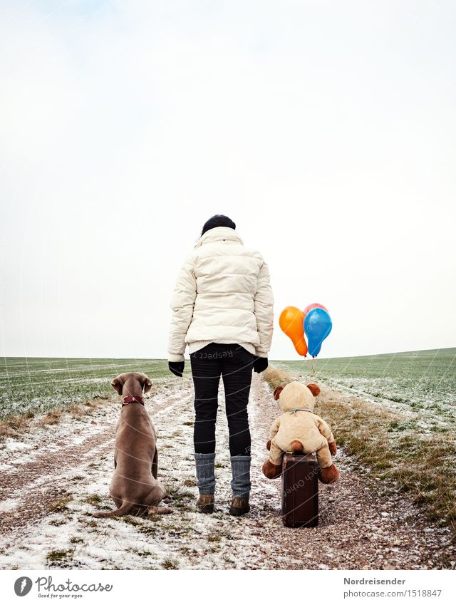 parting... Team Human being Feminine Woman Adults Life Winter Bad weather Field Street Animal Dog Teddy bear Cuddly toy Balloon Wait Uniqueness Cold Joy Agreed