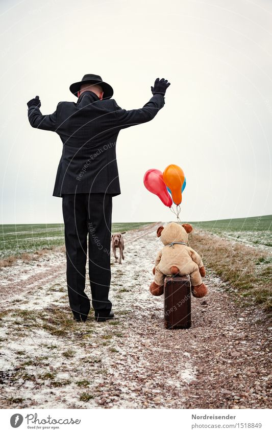 Arrival.... Retirement Closing time Human being Man Adults Life Landscape Winter Field Street Lanes & trails Suit Hat Animal Dog Teddy bear Cuddly toy Balloon