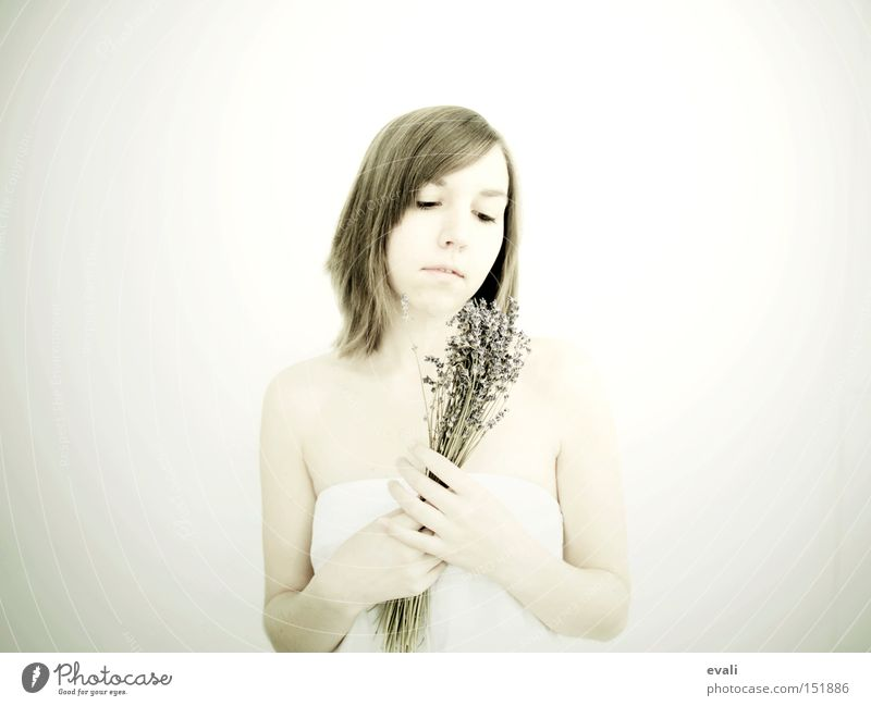 Woman White Flower Bright Portrait photograph Lavender Lilac Medicinal plant