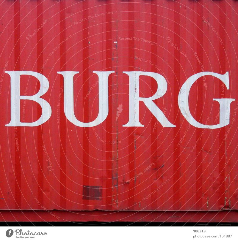 castle Hamburg Red Container Letters (alphabet) U Harbour ham Characters Metal ship Castle