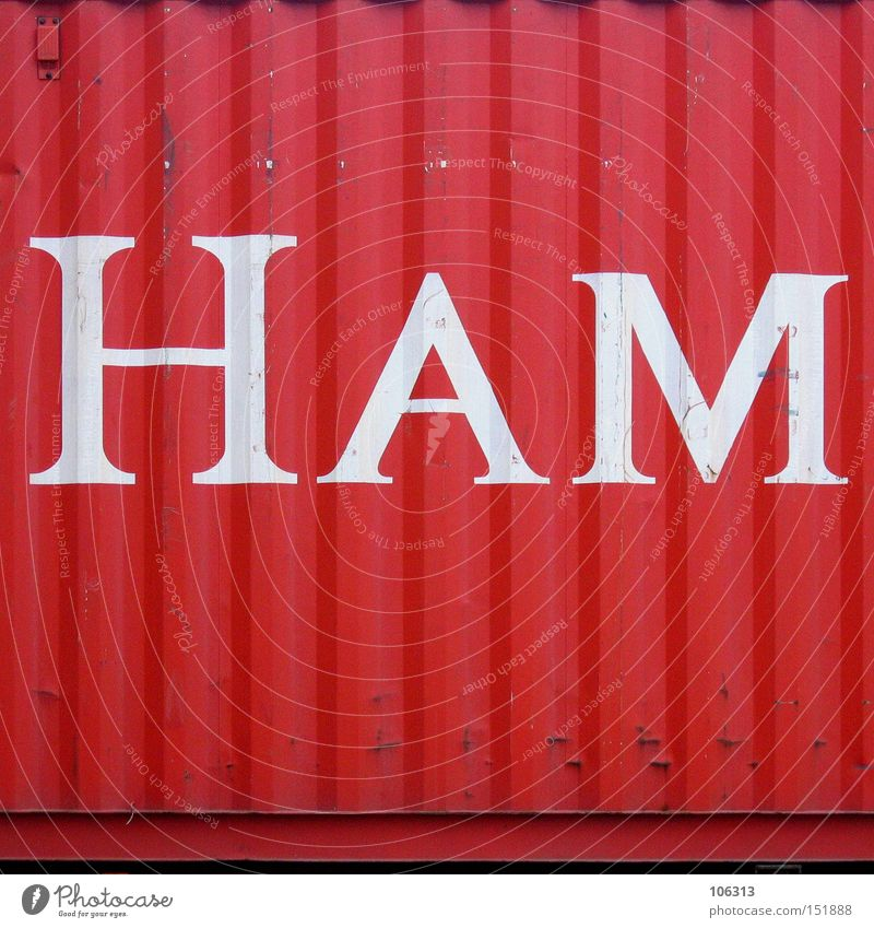 HAM Hamburg Red Container Letters (alphabet) Harbour ham Characters Metal ship put together Castle