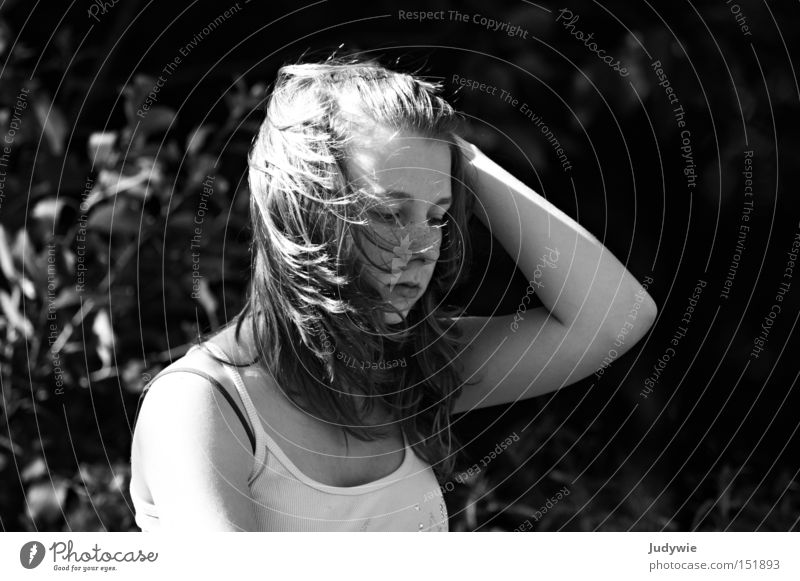 It was windy Black & white photo Wind Gale Thought Woman Summer Emotions Grief Top Distress Hair and hairstyles ponder Sadness Weather