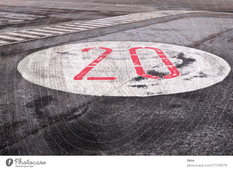 HH16.1   twenty Transport Traffic infrastructure Street Lanes & trails Digits and numbers Town Asphalt Stripe Colour photo Exterior shot Copy Space bottom Day