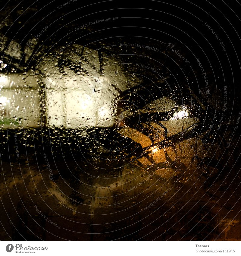 Place at the window Window Window pane Car Window Slice Rain Drops of water Night Light Colour Contrast Dark Ambiguous Water Detail