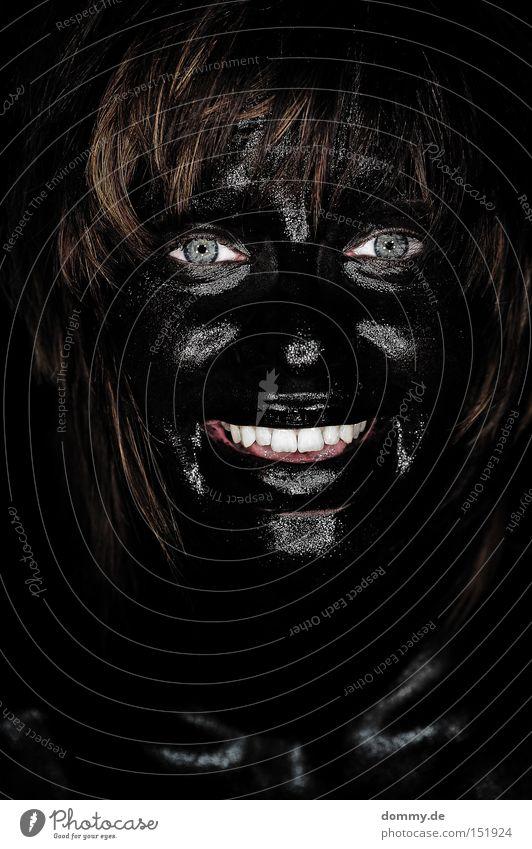 Woman Blue Joy Black Face Eyes Dark Laughter Teeth Friendliness Lady Painted Portrait photograph Camouflage colour