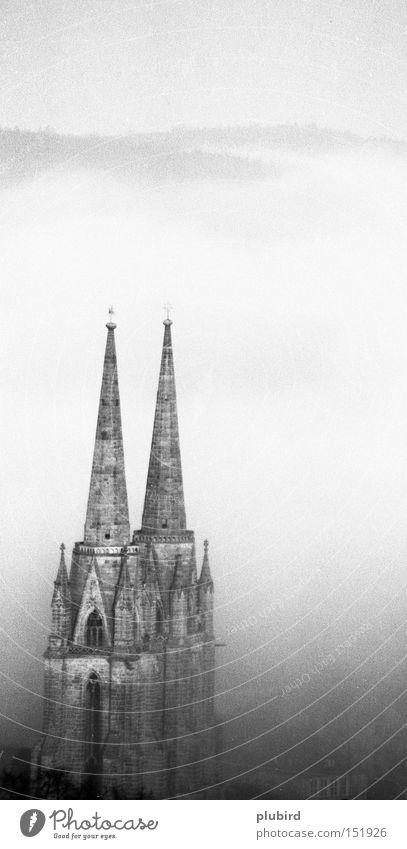 Elisabethkirche im Nebel (Marburg) Historic nebel schwarz/weis christlich hochformat elisabeth elisabethkirchew