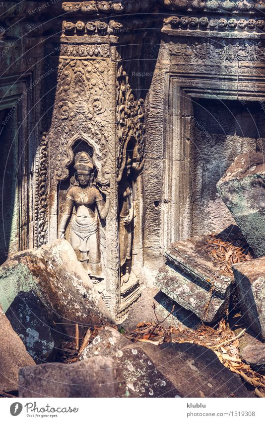 Ruins of Angkor Thom in Cambodia Vacation & Travel Tourism Culture Earth Tree Park Virgin forest Rock Building Architecture Monument Stone Old Historic Wild