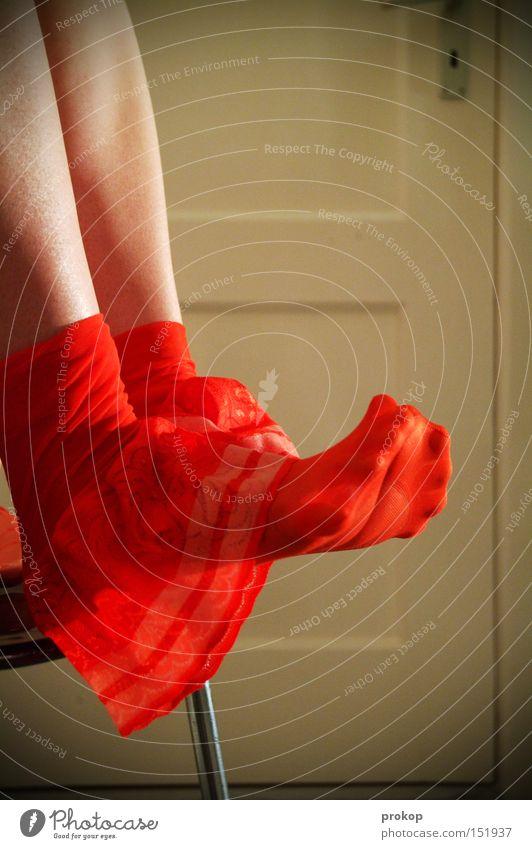 credits Woman Beautiful Legs Shaven Door Sit Suspender belt Break Attractive Feet Toes Quality lingerie