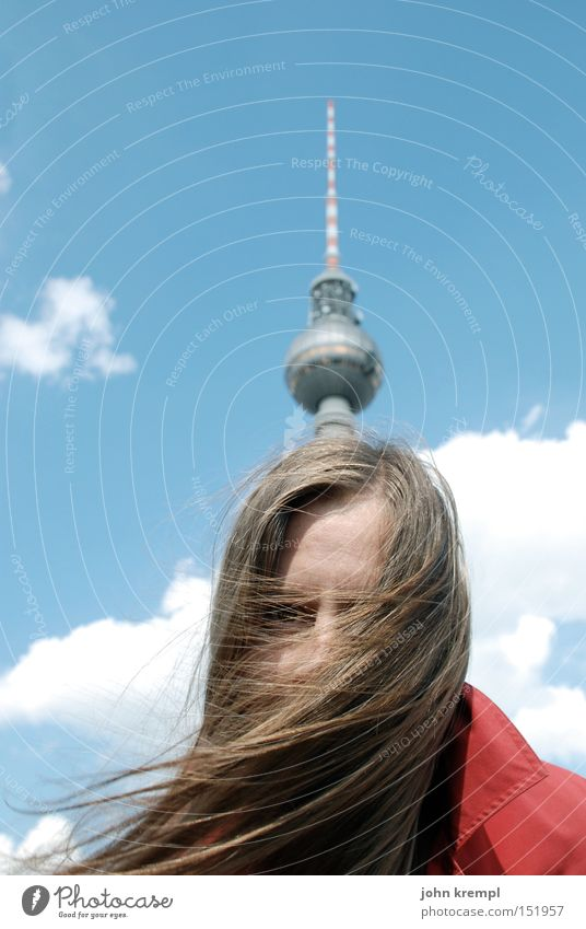 Berlin Funny Blonde Monument Whimsical Landmark Long-haired Young woman Berlin TV Tower Antenna Spire Woman`s head Spiked helmet