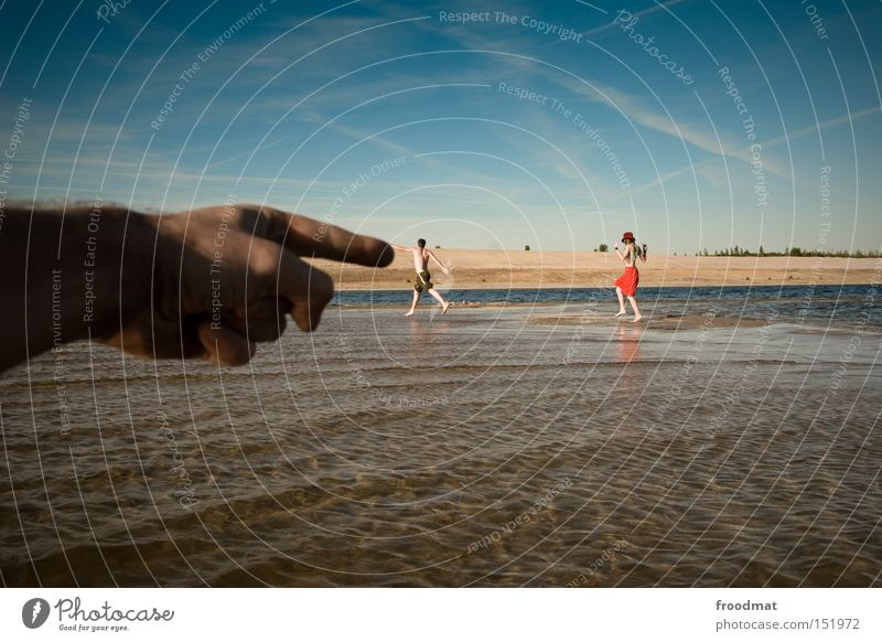 Youth (Young adults) Water Hand Vacation & Travel Summer Joy Playing Jump Lake Funny Swimming & Bathing Walking Perspective Human being Mining Forefinger