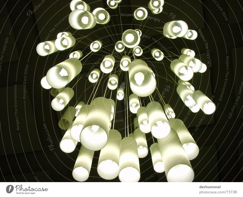 Falling sea of lights Light Lamp Hanging lamp Energy-saving bulb Futurism Frosted glass Photographic technology Lighting Black & white photo Contrast Surrealism