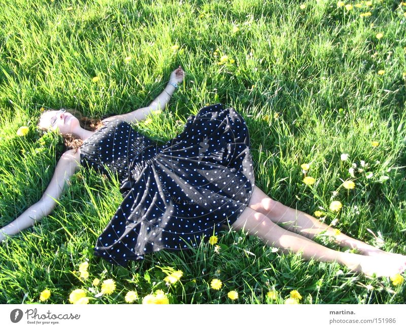 Girl Green Summer Joy Meadow Grass Happy Contentment Clothing Dress Point Dandelion Flower Relief