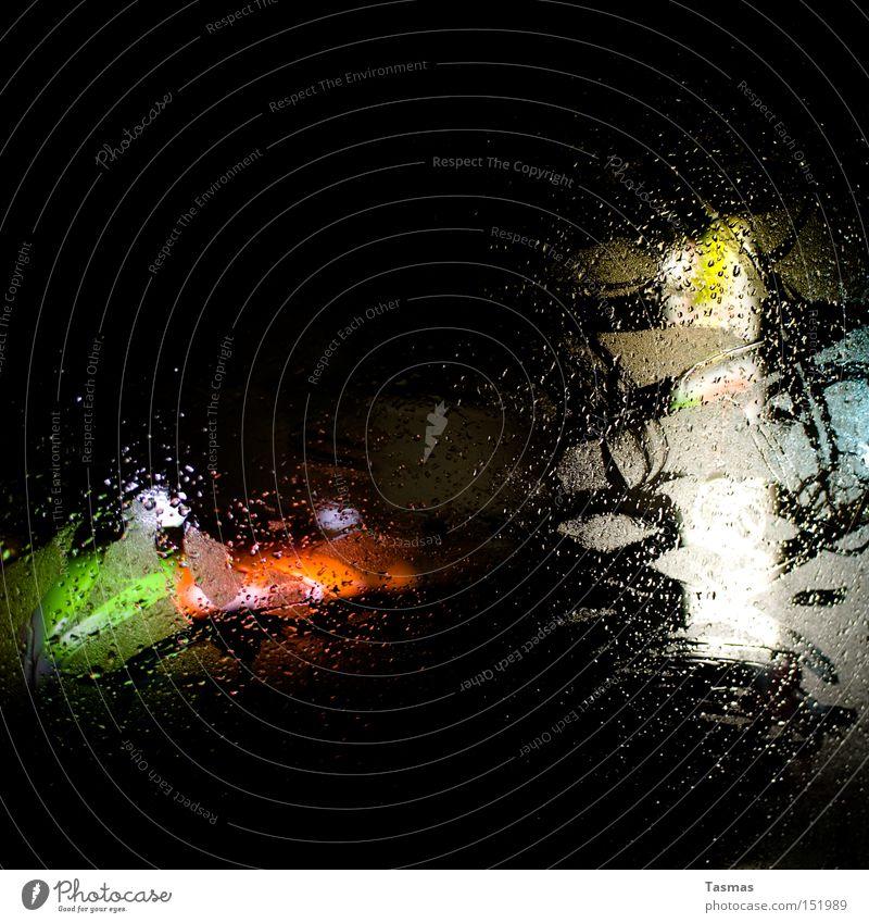 Water Colour Dark Window Rain Drops of water Drop Transience Window pane Night Car Window Ambiguous