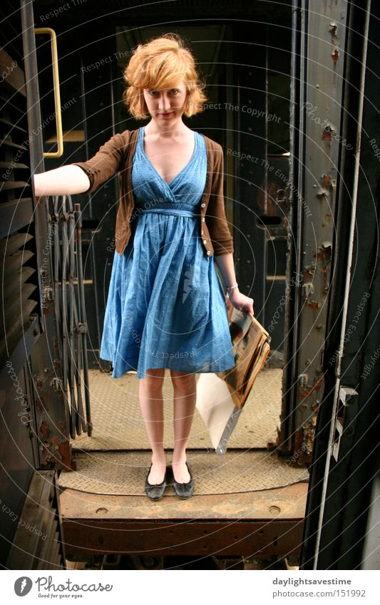 Train hoppin Woman Red Media Railroad Newspaper Dress Tracks Train station Transport