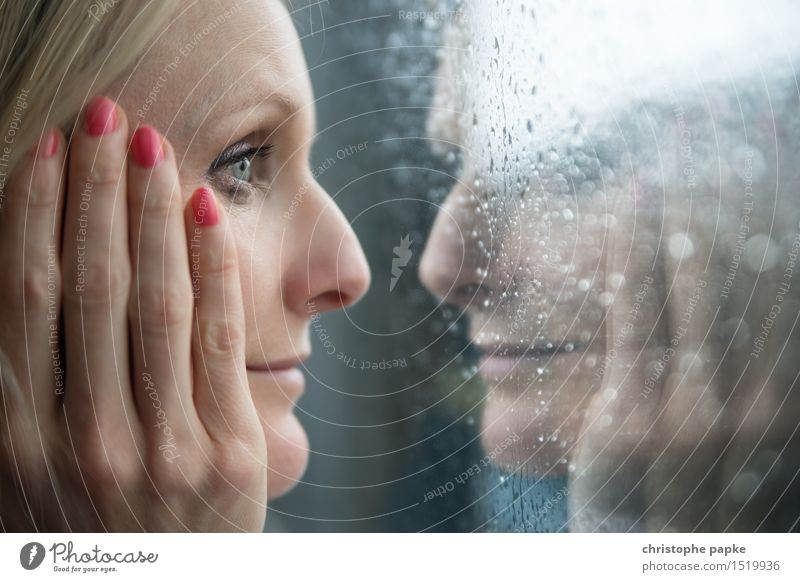 rainy day Mascara Flat (apartment) Feminine Young woman Youth (Young adults) Woman Adults Face Eyes Hand 1 Human being 30 - 45 years Bad weather Rain Glass